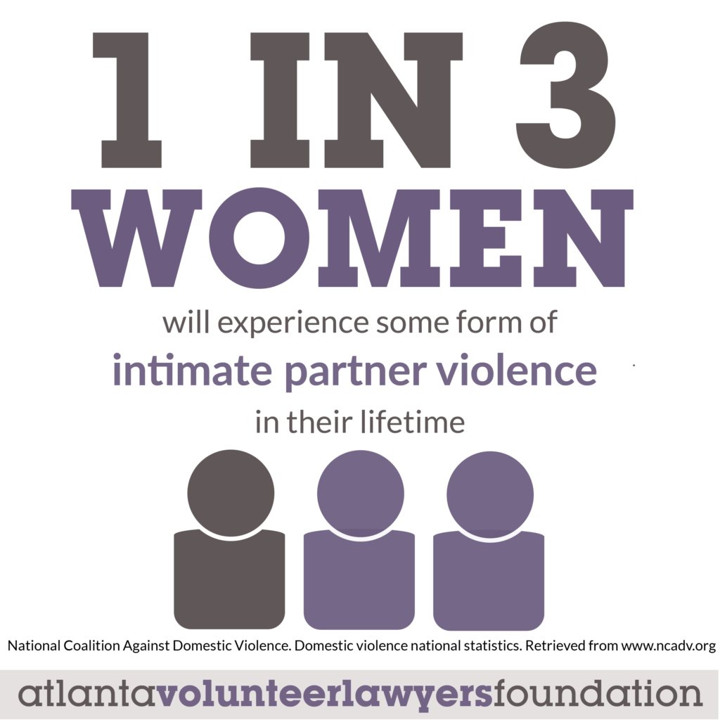 1 in 3 women will experience some form of intimate partner violence in their lifetime.