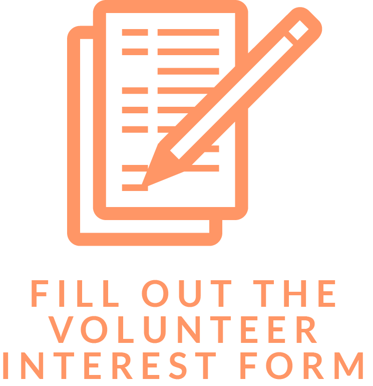 """button image of papers and pencil with the caption """"FILL OUT THE VOLUNTEER INTEREST FORM"""""""