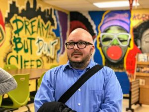 Safe and Stable Homes director Cole Thaler at one of our Standing with Our Neighbors schools.