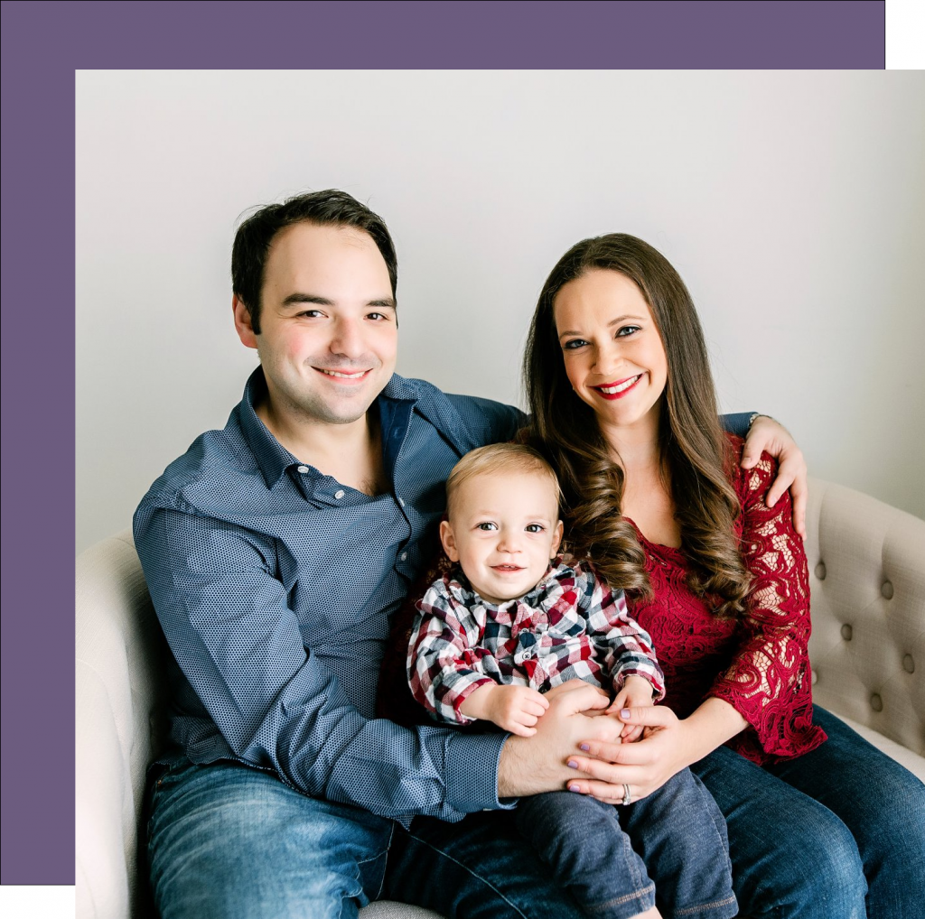 Safe and Stable Families volunteer Raquel Saltzman and her husband and child.